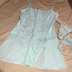 Victoria's Secret ice blue lace babydoll set